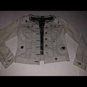 Guess distressed chain link stretch denim  jacket